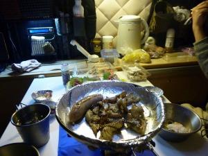 ライダーハウスで夕食