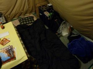 常設テント内の就寝スペース