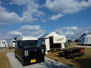 快晴の石見海浜公園オートキャンプ場にKONG