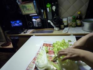 KONGの室内で野菜をカット