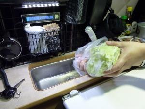KONGのシンクに野菜を洗って流す