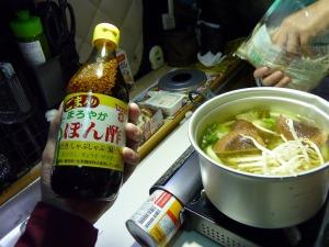 フンドーキンのぽん酢と鍋_20121223