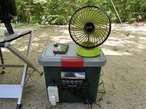 自作ポータブル電源と扇風機_20130713
