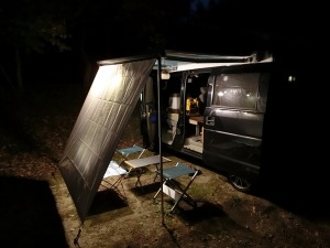 山鳥の森オートキャンプ場で車中泊体勢のKONG_20131014