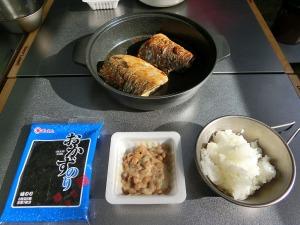 出来た塩サバと朝食風景_20150607