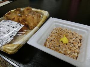 納豆と鶏もも唐揚げ_20161113