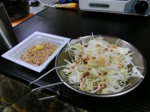 野菜サラダと納豆_20161119